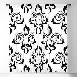 Black and White Brocade Fleur de Lis Abstract Artwork Blackout Curtain