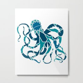 GREAT OCTOPUS SILHOUETTE WITH PATTERN Metal Print