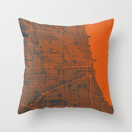 Chicago map orange Throw Pillow
