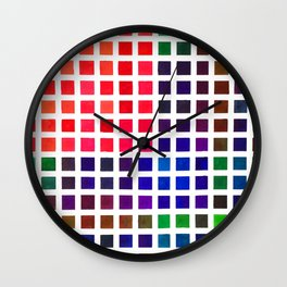 Vibrant Watercolor Tile Pattern Wall Clock