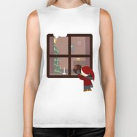cabin Biker Tanks featuring Holiday Cabin by Cecily Cloud