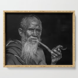 Portrait of an Elderly Man Smoking Pipe Serving Tray