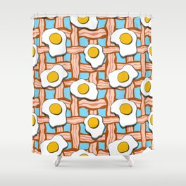 bacon and eggs on blue background Shower Curtain
