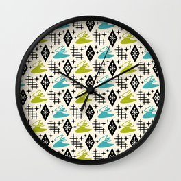 Mid Century Modern Boomerang Abstract Pattern Chartreuse and Turquoise 161 Wall Clock