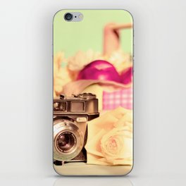 Film Camera and Rose (Retro and Vintage Still Life Photography)  iPhone Skin