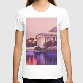 Twilight, Jefferson Memorial Amid Spring Cherry Blossoms by Jeanpaul Ferro T-shirt