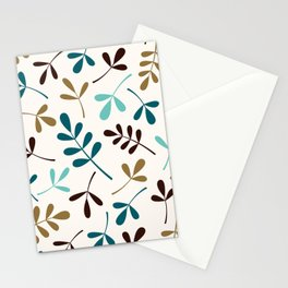 Assorted Leaf Silhouettes Teals Brown Gold Cream Stationery Cards