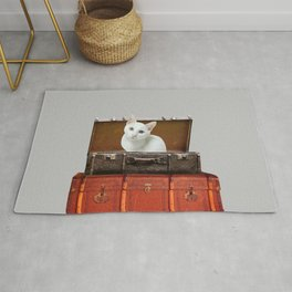 White little cat in suitcase  Rug
