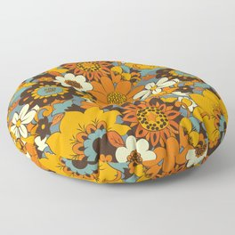 70s Retro Flower Power 60s floral Pattern Orange yellow Blue Floor Pillow