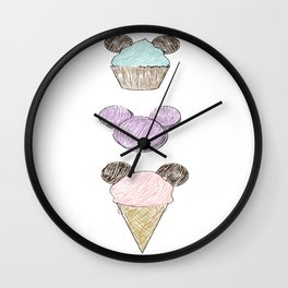 Mickey Mouse Cupcake, Macaroon and Ice Cream Cone Sketchy Wall Clock
