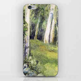 Woodland Landscape Watercolor Vermont Painting Birch Trees Spring Fields iPhone Skin