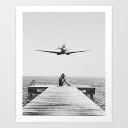 Steady As She Goes; aircraft coming in for an island landing black and white photography- photographs Art Print