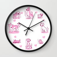 puppies Wall Clocks featuring Puppies by tomowowo