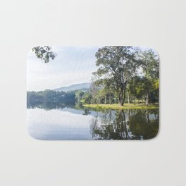 Breathtaking scenic landscape of lake and trees in Ang Kaew Reservoir, Chiang Mai. Bath Mat