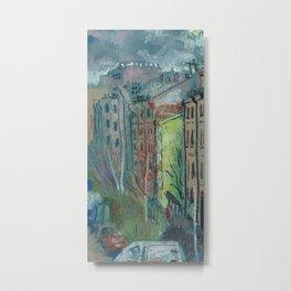 Street View Saint Petersburg Cityscape Oil Pastel Painting Metal Print