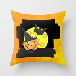 Funny smiling pumpkin head with bat and moon Throw Pillow