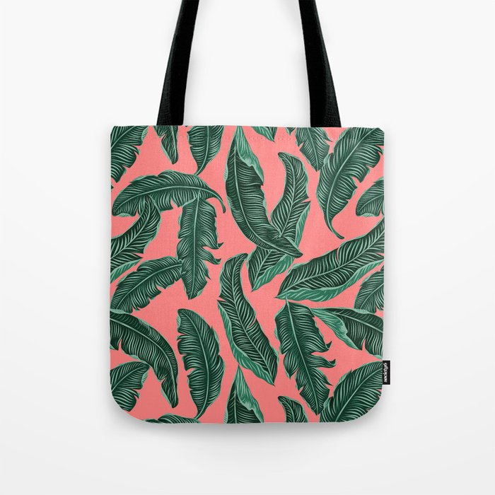Banana leaves tropical leaves green pink #homedecor Tote Bag