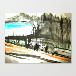 vineyard down to a blue sea........ Canvas Print