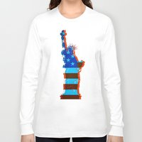 patriots Long Sleeve T-shirts featuring statue of liberty / USA by Marta Olga Klara