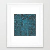 kansas city Framed Art Prints featuring Kansas City Blue by Map Map Maps