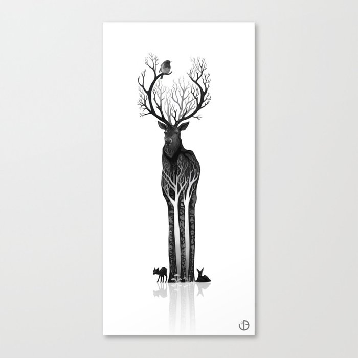 The black deer Canvas Print