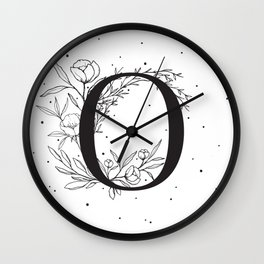 Black Letter O Monogram / Initial Botanical Illustration Wall Clock