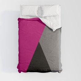 Geometric design in hot pink grey & black Comforters