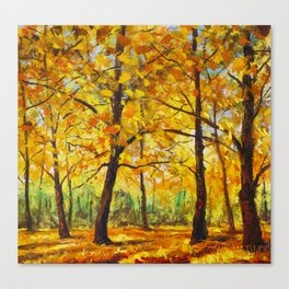 Sunny autumn park - Palette Knife Oil Painting On landscape By Valery Rybakow  Canvas Print