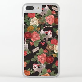 Opossum Floral Pattern (with text) Clear iPhone Case