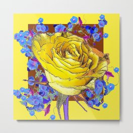 YELLOW ART & YELLOW ROSE BLUE MORNING GLORY Metal Print