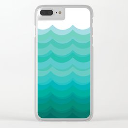 Wave pattern, blue and green pattern, home decor Clear iPhone Case
