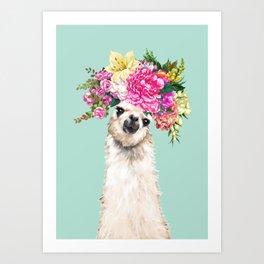 Flower Crown Llama in Green Art Print