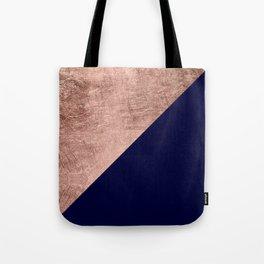Minimalist rose gold navy blue color block geometric Tote Bag