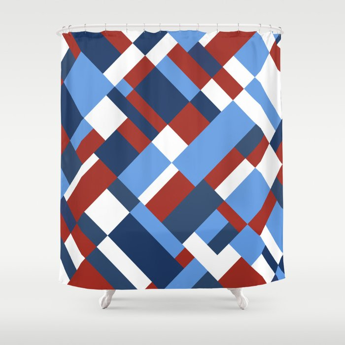 Map 45 Red White And Blue Shower Curtain