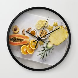 Yellow and Orange Organic Fruits and Vegetables Wall Clock