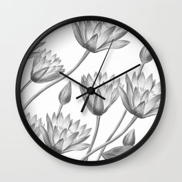 Water Lily Black And White Wall Clock