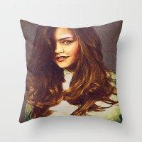 jenna kutcher Throw Pillows featuring Dedication Artwork: Jenna Coleman (1 of 2) by InnerSymbiance