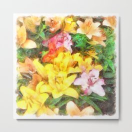 Lilies Love and Light Metal Print
