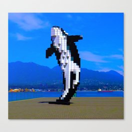 Pixelated Whale Canvas Print
