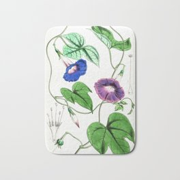 A Purging Pharbitis Vine in full blue and purple bloom - Vintage illsutration Bath Mat