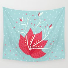 Exotic Winter Flower Wall Tapestry