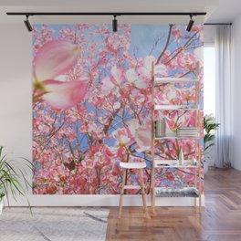 Pink Flowers Blue Sky Wall Mural
