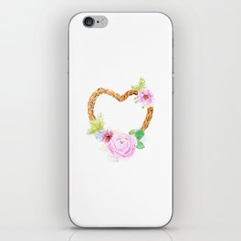 flower heart pink rose and daisy watercolor iPhone Skin