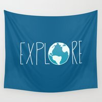 globe Wall Tapestries featuring Explore the Globe by Leah Flores