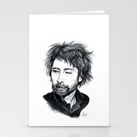 radiohead Stationery Cards featuring Thom Yorke [Radiohead] by ieIndigoEast
