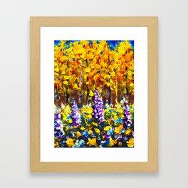 Painting Flowers in Golden Autumn Forest by Rybakow Framed Art Print