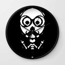 old skinny skull and bone with glasses in black and white Wall Clock