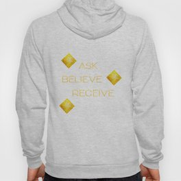 Ask believe receive beige tan marble and gold squares abstract typography design Hoody