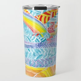 Sea beach with a rainbow and shells - abstract doodle colorful landscape Travel Mug