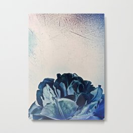 Blue Tulip- Scratched And Grungy Metal Print